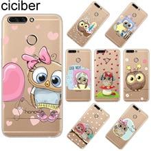 ciciber For Huawei Honor 7A 8X C Pro Clear Soft Silicone TPU Phone Cases For Honor 10 9 Lite Play V10 V9 Cute Owl Design Fundas