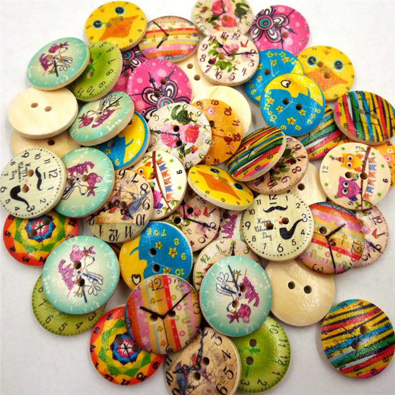 50PC Vintage Wood Clock Sewing Accessories Buttons 2 Holes Sewing Scrapbooking Crafts Sewing Accessories for Clothes Bags 40SP18 (2)