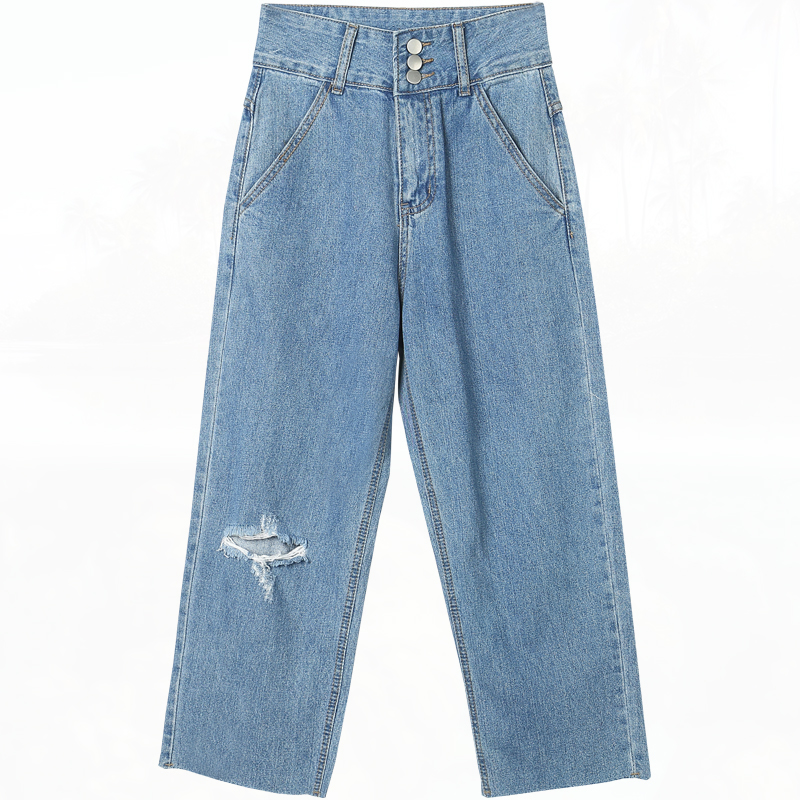 High Waist Jeans Women New 2017 Fashion Ankle-Length Pants Hole Boyfriend Loose Pencil Ripped Jeans female Denim lace embroidery jeans ripped hole straight harem pants women ankle length pants fashion high waist loose plus size pencil pants