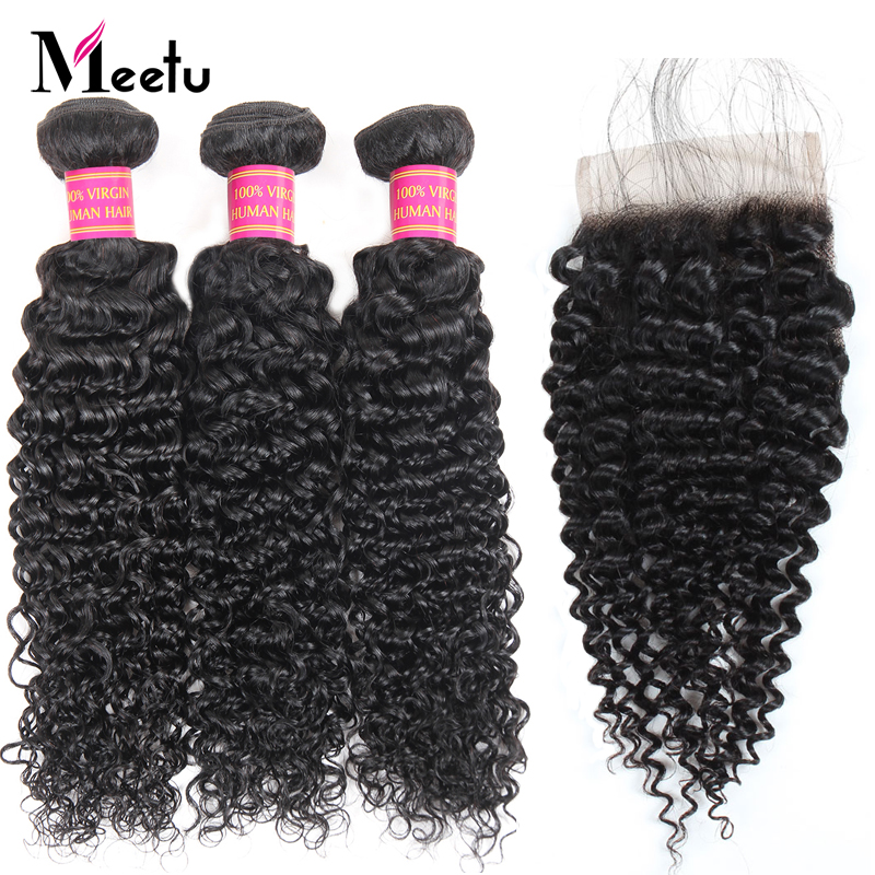 Meetu Mongolian Afro Kinky Curly Hair Bundles with Closure 3 Bundles With Lace Closure Non Remy Human Hair Bundles with Closure