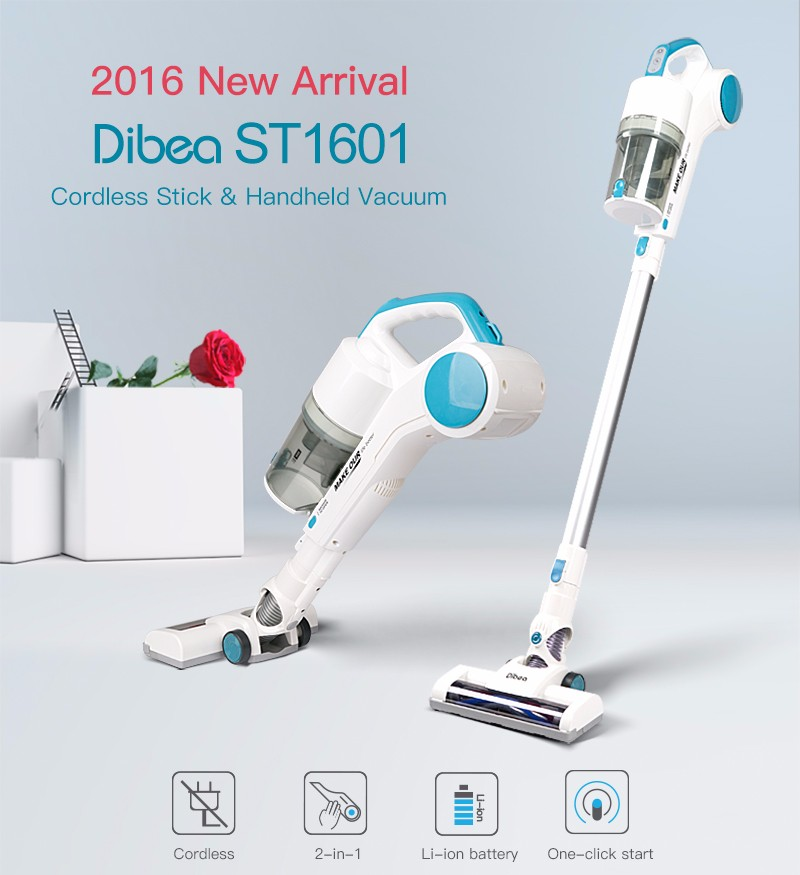 Dibea ST1601 New Handy Cordless Vacuum Cleaner with Cyclonic Technology Light Weight 2-in-1 Stick and Handhold 7Kpa Suction аквариум tetra aquaart evolution line 130л