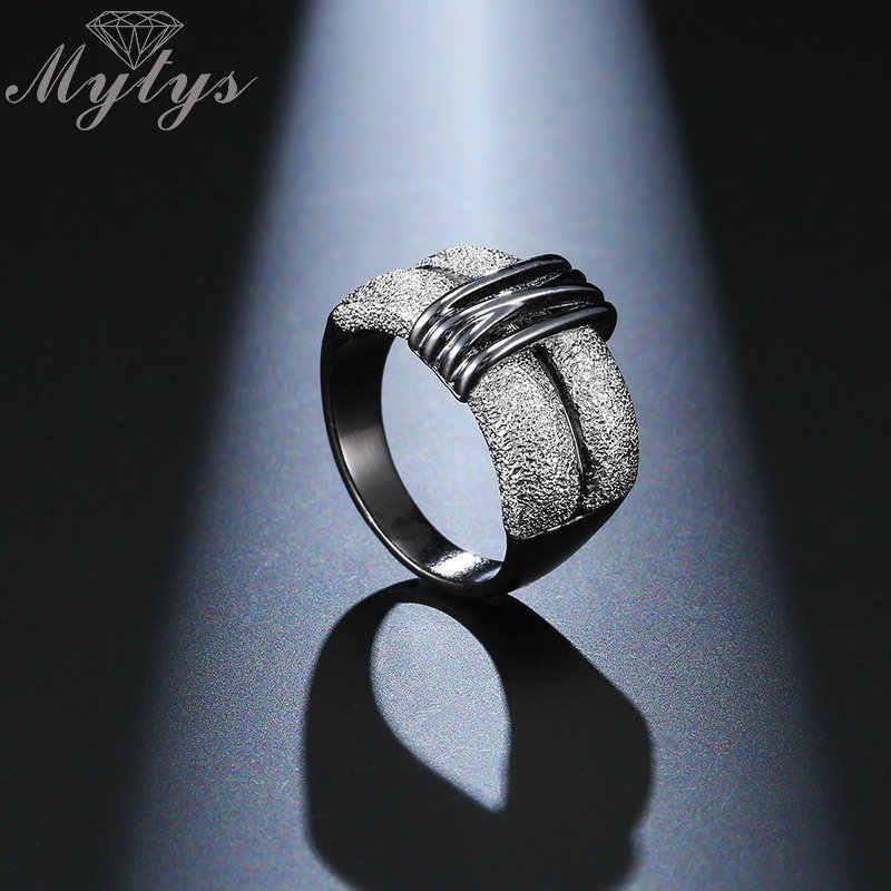 Mytys สีดำและ Silver Mix สี Two Tone Gold แหวนแฟชั่นผู้หญิงเครื่องประดับโมเดิร์นใหม่เลดี้อุปกรณ์เสริมแหวนของขวัญ R1999