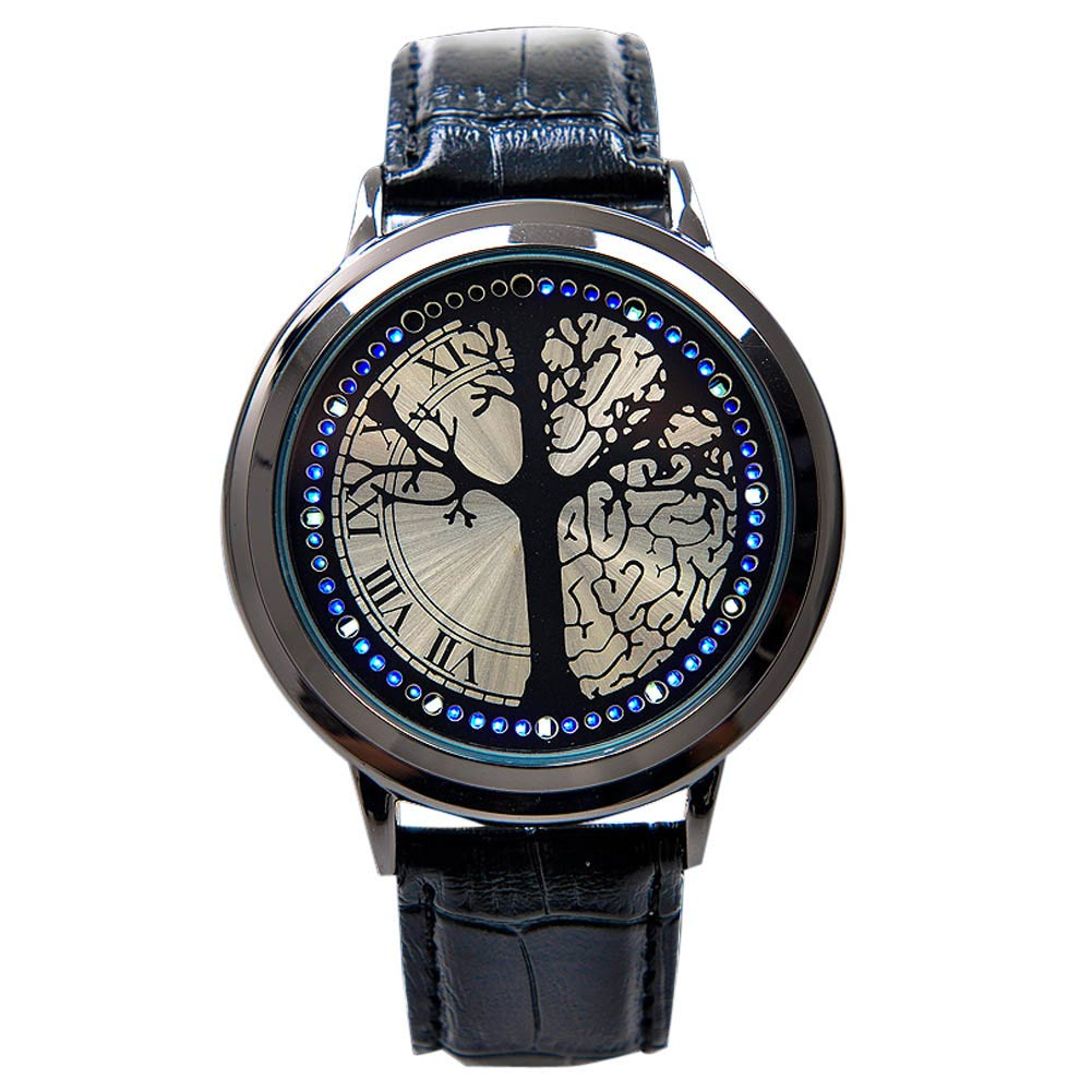 Fashion Leather Band Touch Screen LED Watches For Women/Men With Tree Shaped Dial Blue Light Display Time ~M24