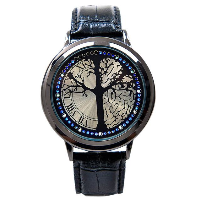Fashion Leather Band Touch Screen LED Watches For Women/Men with Tree Shaped Dia