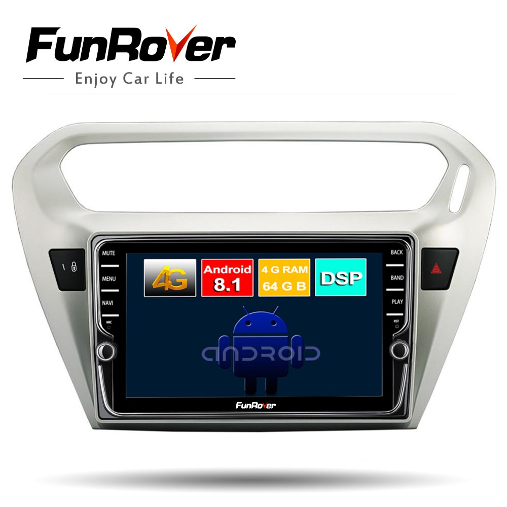 Funrover android 8 1 2din car radio dvd multimedia player for Citroen Elysee Peugeot 301 2014