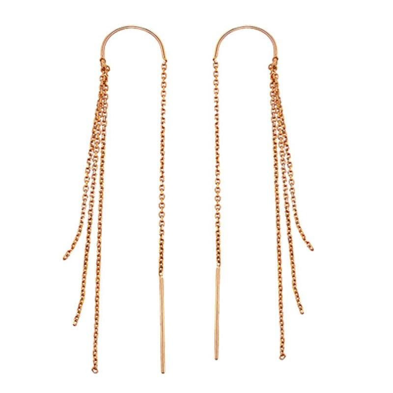 NEW Pure 18K Rose Gold Dangle Earrings Fringe Link Dangle EarringsNEW Pure 18K Rose Gold Dangle Earrings Fringe Link Dangle Earrings
