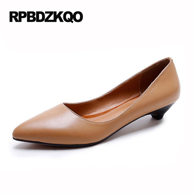 Brown Size 4 34 Black Formal Pointed Toe Court Kitten 2017 Genuine Leather Elegant Shoes Women Office Pumps Low High Heels women high heels pumps office nude shoes 3 inch formal elegant ladies size 4 34 slip on 2017 work court female chinese autumn