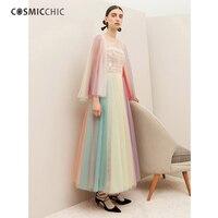 Cosmicchic Haute Couture Тюль Вышивка Макси Платье Flare с длинным рукавом Цвет Кружево бальное платье PA Кружево Платья для вечеринок ly229