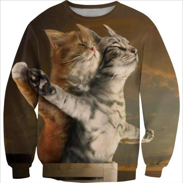 Autumn Mens Sweatshirt Hoody 3D Cat Print Hoodie Sweatshirt Men Cotton Long Sleeve Sweatshirts Male Casual Pullover Men Hoodie