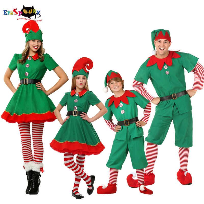 Verde Natal Elfo Trajes Adulto Papai Noel Cosplay Família Roupas Combinando Crianças Carnaval Vestido Meninas Roupa De Ano Novo Chapéu Fantasias P Festas Aliexpress