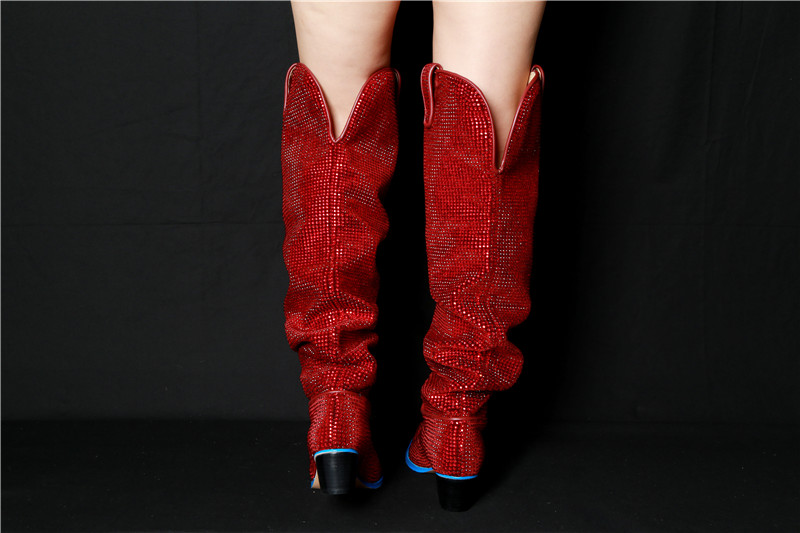 Slip Rodilla As Lujo on Mujer Show De Moda Invierno Marca Cómodo Sobre Cristal Zapatos Botas Plataforma Rojo La aOOxwF8n