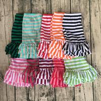 2017 fashion US toddler multiple colors baby double ruffle girls stripe summer shorts children