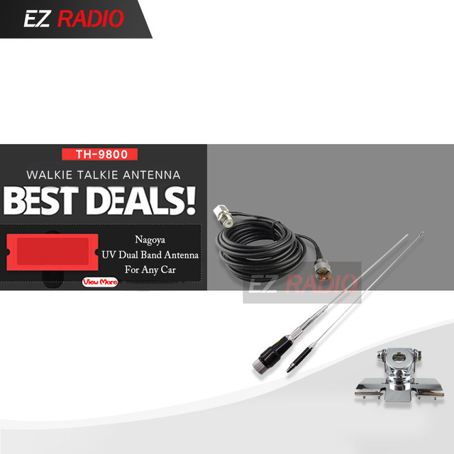 US $29 99 |TH 9800 High Gain Car Antenna: M285 Dual Band Mobile  Antenna+Nagoya Mount Car Clip Edge+5 Meters Cable for All Mobile Car  Radios-in Walkie