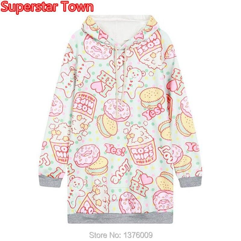 aa90a08ee1c4 Kopen Goedkoop Dount Hoody Hooded Sweater Harajuku Dames Zoete Lolita Hoodies  Kawaii Vrouwen Truien Mori Meisje Felpe Donnadoughnut Cake Online