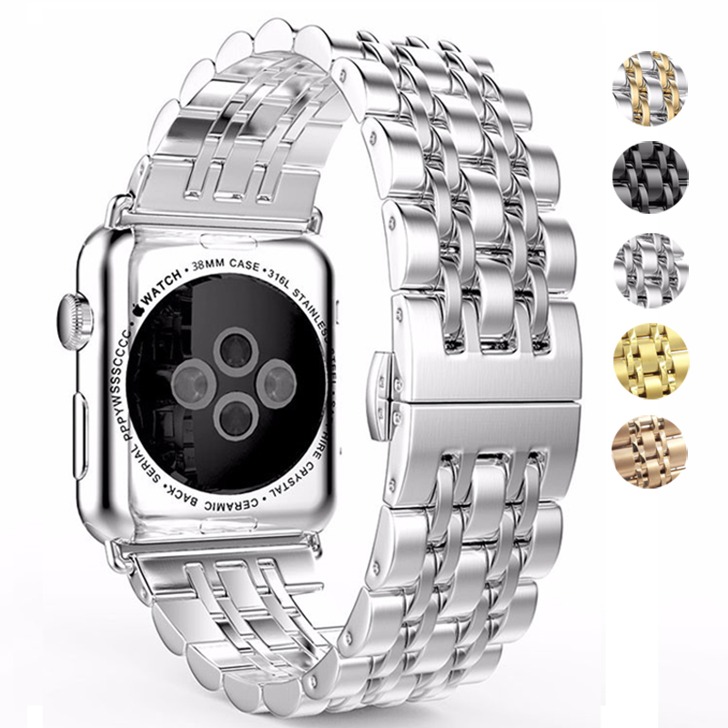 38mm 42mm 44mm 40mm Stainless Steel Watch Band For Apple Watch 4 3 2 1 Bracelet Hidden Clasp Space Smart Watch Band Sport Band