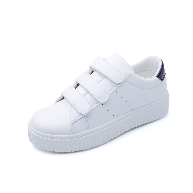 Fashion New Women's Platform White Shoes 2016 Imitation Leather Casual Shoes Women Trainers Walking Skate Shoe