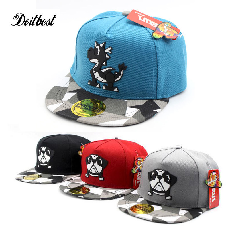 2017 Europe Cartoon Dog Dinosaurs Children Hip Hop Baseball Cap Summer kids Sun Hat Boys Girls snapback Caps 2-8 years 2016 high quality camo baseball caps kids boys snapback caps children girls hip hop cap fashion summer baby sun hats for girls