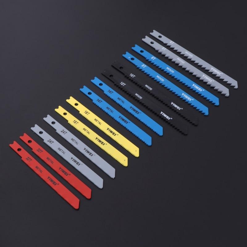 14Pcs Jigsaw Blades Set T Shank Fitting Jig Saw Metal Plastic Wood Blades