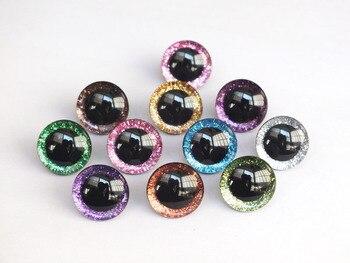 Безопасные игрушечные глаза из пластика, 20 шт., 12 мм/14 мм/16 мм/20 мм/25 мм, прозрачные, без ворса, с блестками, можно выбрать размер и цвет