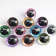 20pcs 12mm/14mm/16mm/20mm/25mm clear trapezoid plastic safety toy eyes + glitter
