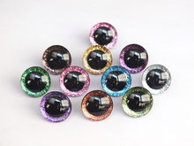 20pcs 12mm/14mm/16mm/20mm/25mm clear trapezoid plastic safety toy eyes + glitter Nonwovens -Can choose size and color