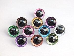 Image 1 - 20pcs 12mm/14mm/16mm/20mm/25mm ברור טרפז פלסטיק בטיחות צעצוע עיניים + גליטר בדים לא ארוג יכול לבחור גודל וצבע