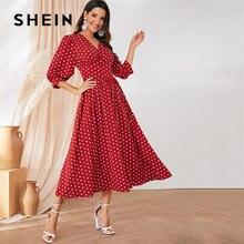 SHEIN bordowy Polka Dot szeroki pasek przycisk szczegóły Maxi sukienka kobiety elegancki V Neck rękaw w stylu bishop długie sukienki sukienek