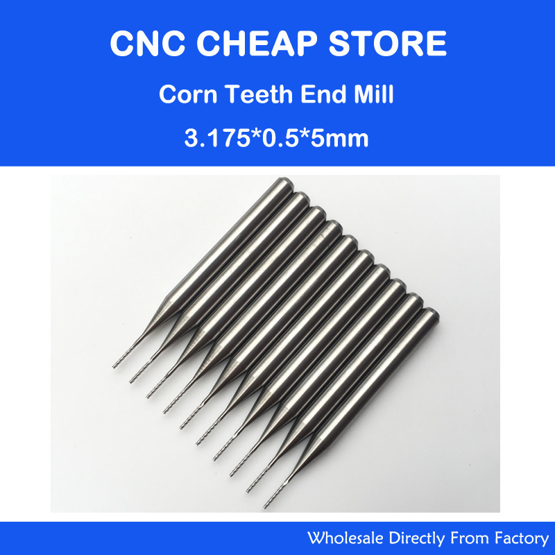 Free shipping 10pcs 3.175*0.5*5mm shank Carbide End Mill Engraving Bits CNC Rotary Burrs Set corn milling cutter PCB router bits 10pcs 1 2mm tungsten steel titanium coat carbide end mill engraving bits cnc pcb rotary burrs milling cutter drill bit
