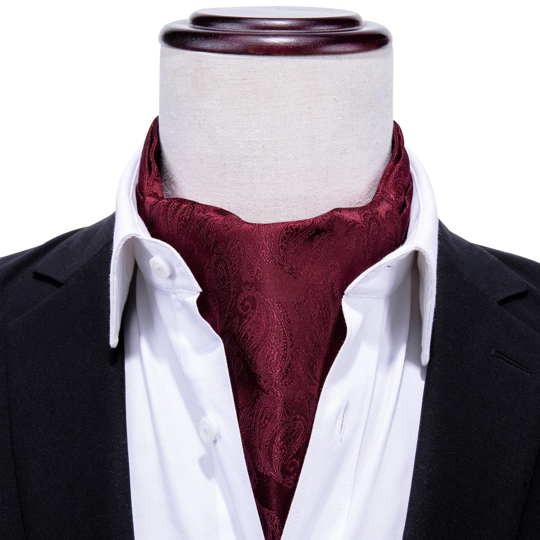 Silk Ascot Tie For Men Scarf Tie Suit Wine Red Men's Necktie Jacquard Set Fashion Pocket Square Cufflinks Barry.Wang AS-001