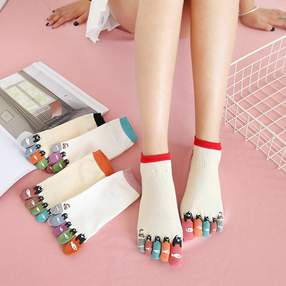 Socks Women Calcetines Mujer Socks Women Cotton Breathable Colorful Toe Five Finger Socks Cotton Funny Short Hosier T429