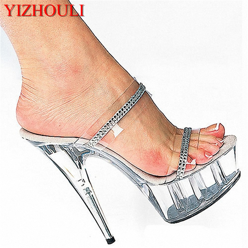 specializing in the production of various types of shoes Gorgeous eye-catching ultra-high with 15 cm slipper sandals types in logic programming