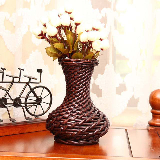 Decorative Wicker Baskets Feng Shui Flower Vase Wedding Decoration Vase Home Decor Free Shipping