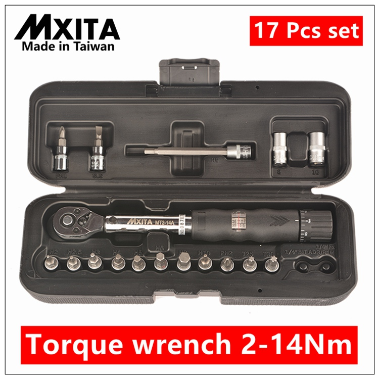 MXITA 17 Pcs set Bicycle torque wrench   1/4DR 2-14Nm  bike tools kit set tool bike repair spanner hand tool set mxita 5pcs kit spanner tyre whorl torque wrench set car repair tool 1 2 28 210nm hand tool set