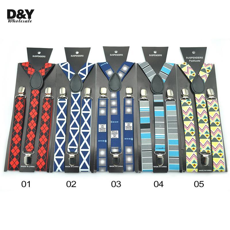 Multi 9 Colors Stripes Checkered Plaid Suspender Jeans Pants With With Suspenders Men Women Braces Clip On Elastic 2.5 Cm Braces