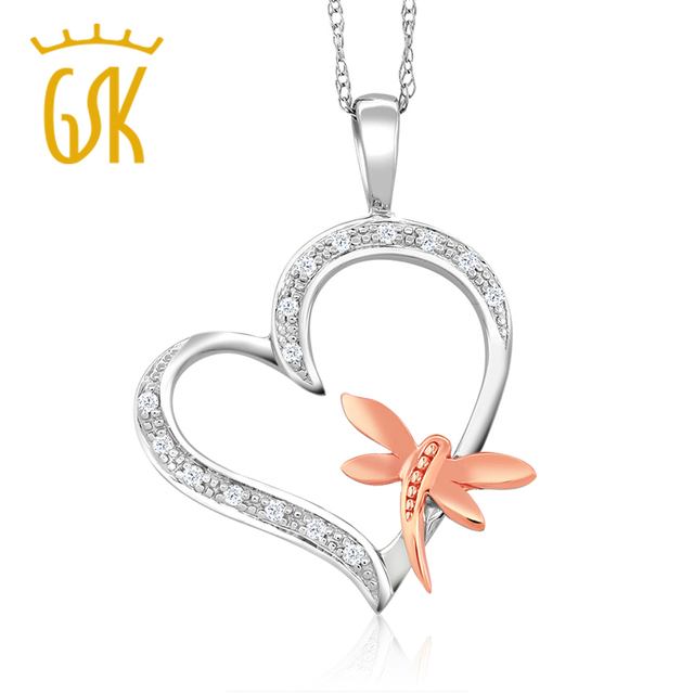 Gem stone king two tone 10k white rose gold heart shape dragon fly gem stone king two tone 10k white rose gold heart shape dragon fly natural mozeypictures Gallery