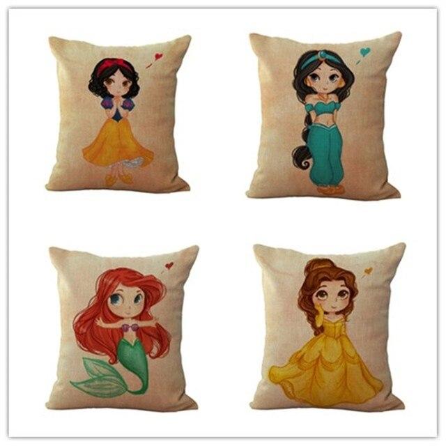 Adorabile Stile Del Fumetto Principessa Casalinghi Cojines Decorativo Per La Cas