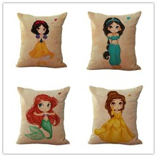 Adorable Cartoon Style Princess Houseware Home Decorative Cojines Sofa Pillow Throw Linen Cotton Cushion Almofadas
