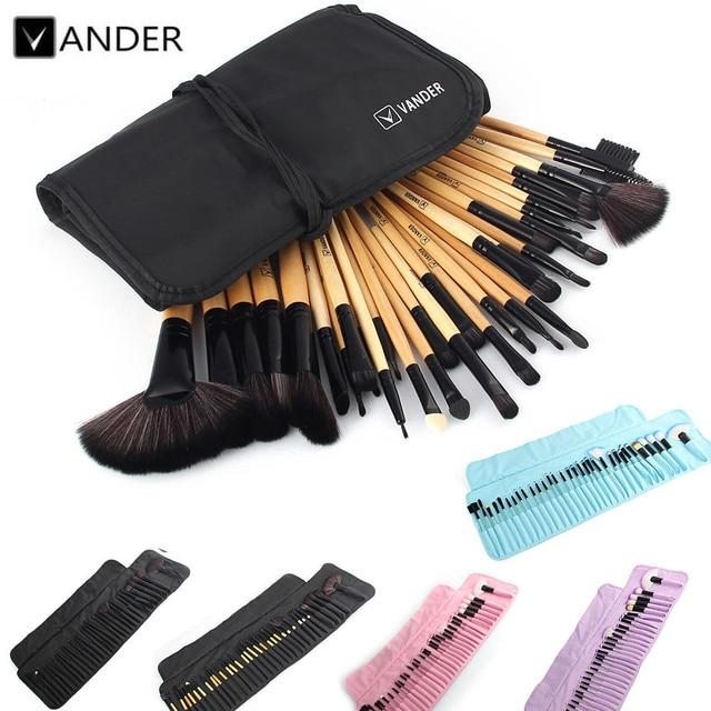 VANDER 32 Pcs Conjunto de Maquiagem Profissional Escova Foundation Sombras Batons Pó Compo Escovas Ferramentas w/Saco de pincel maquiagem