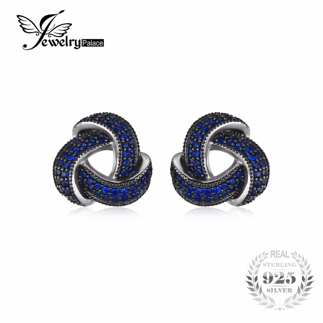 JewelryPalace 0.5ct Created Blue Spinel Flower Wraparound Cluster Studs Earrings 925 Sterling Silver Jewelry for Women