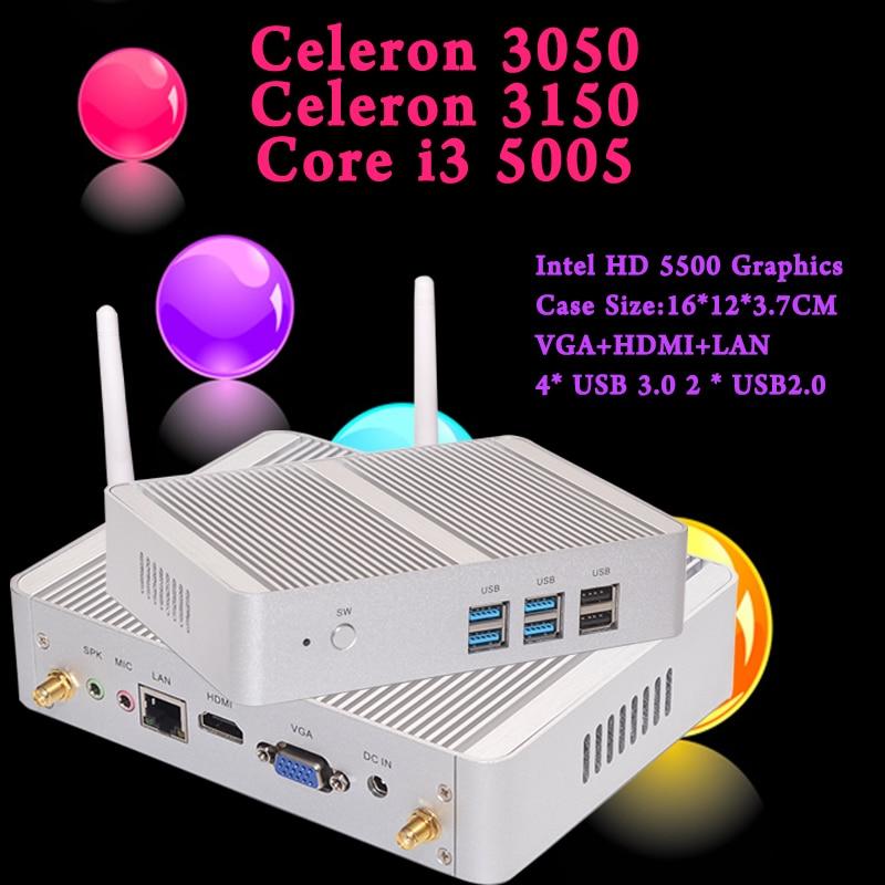Mini PC 5Gen i3 5005U Eglobal Nuc Windows 10 Micro Barebone Computer HD 5500 Graphics 4K HTPC 300M Wifi <font><b>Bluetooth</b></font> <font><b>VGA</b></font> HDMI USB