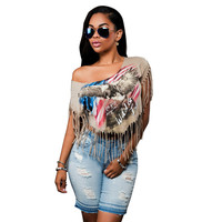 Summer Fashion American Flag Eagle Print Short Sleeve Tassels Blouse Shirt Women Sexy Club Crop Tops