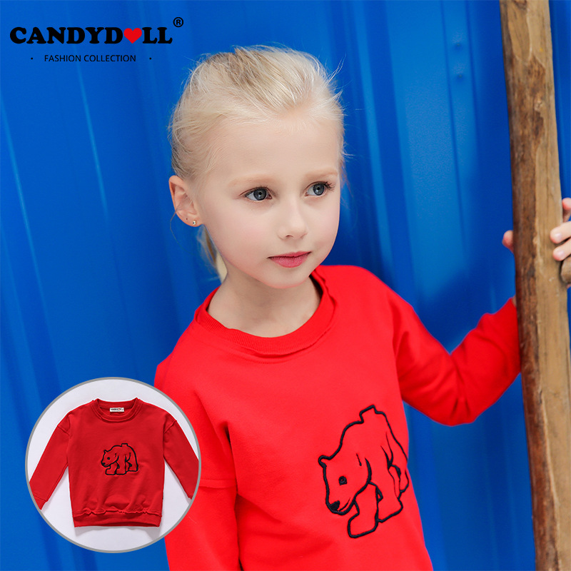 2017 spring girls new cotton super soft pure color embroidery long sleeves small boys and girls clothing sweater T shirt