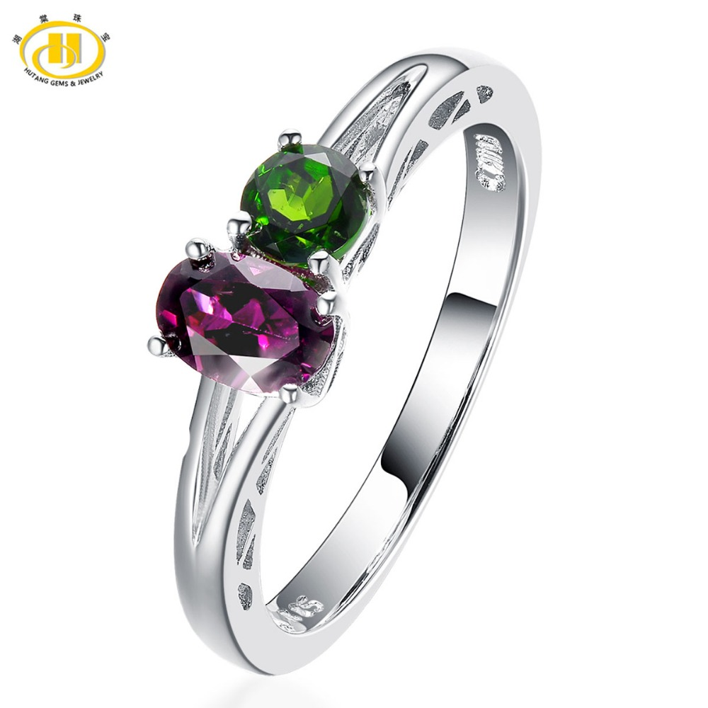 Hutang You and Me Natural Gemstone Rings Rhodolite Garnet & Chrome Diopside Solid 925 Sterling Silver Fine Jewelry Best Gift