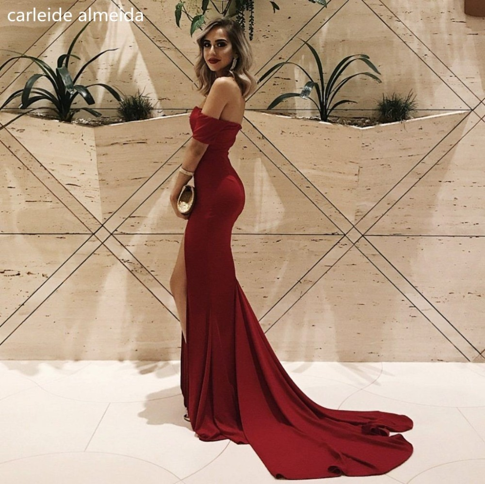 Jersey Off-the-Shoulder Mermaid   Prom     Dresses   Sexy High Slit Vestido formatura Court Train Gala jurken Simple Formal   Dress