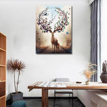 Animal Prints Elk With Beautiful Antlers Canvas Painting Print Living Room Home Decoration Modern Wall Art Oil Posters