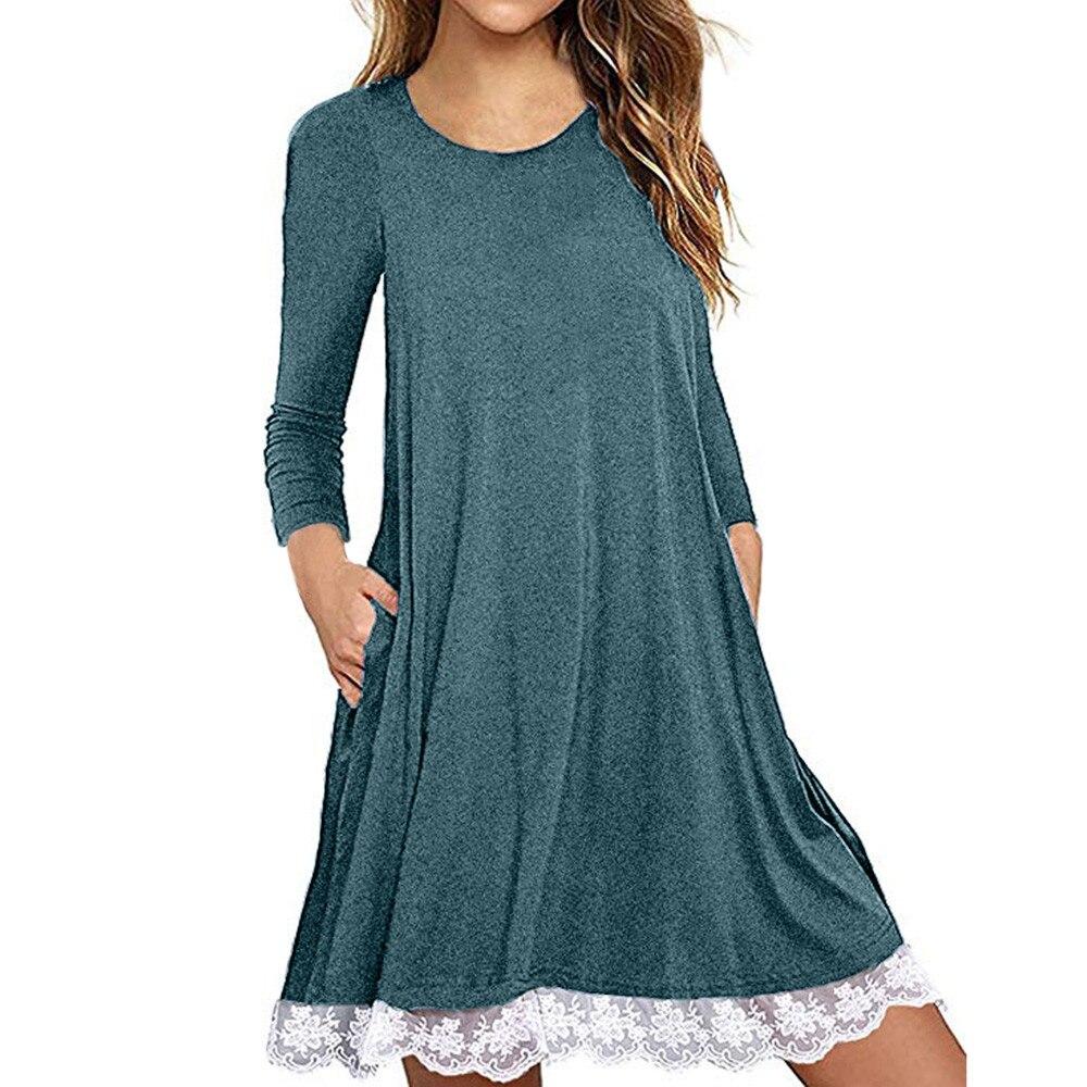 Plus tamanho vestidos o pescoço renda sólido manga comprida solta mini vestido feminino algodão mistura solto vestido casual vestidos robe #2 s