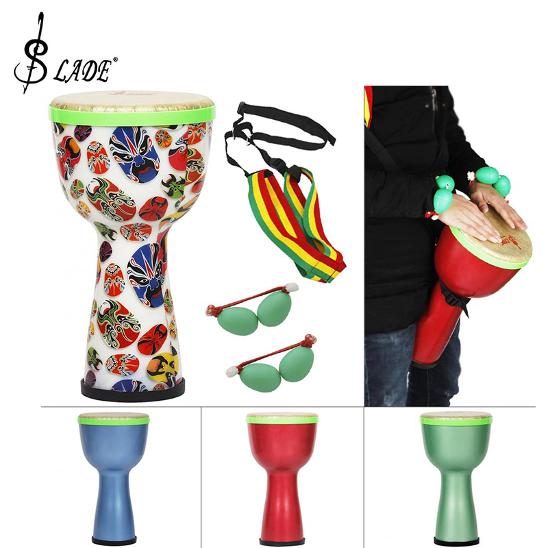 SLADE 8 pouces tambour africain ABS matériel léger Design tambour djembé avec oeufs Shaker et bandoulière