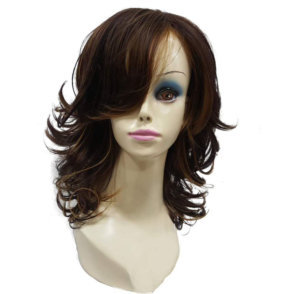StrongBeauty Women\'s wig Auburn Layered Medium Curly Hairstyles For ...