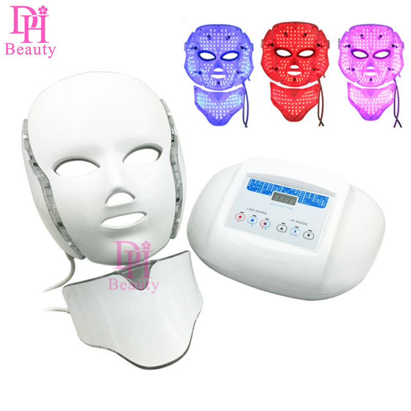 3 Color Light Photon Electric LED Facial Neck Mask Skin Rejuvenation Anti-Aging LED Photodynamic Beauty Mask For Face Neck Ear
