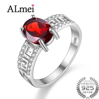Almei Natural Red Garnet Gemstone Ring Female 925 Sterling Silver Fine Jewelry Wedding Rings Birthday Gifts